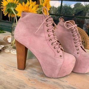 Jeffrey Campbell Lita Boot, pink suede, 7.5